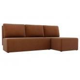 Угловой диван Поло (рогожка коричневый)