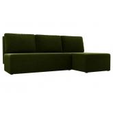 Угловой диван Поло (микровельвет зеленый)