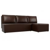 Угловой диван Поло (экокожа коричневый)
