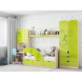 Детская мебель Юниор-3 Маша и медведь (лайм металлик)