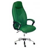 Кресло BOSS (хром) кож/зам, зеленый перфорированный