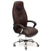 Кресло BOSS (хром) кож/зам, коричневый перфорированный