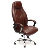 Кресло BOSS люкс (хром) кож/зам, коричневый перфорированный, 2 TONE