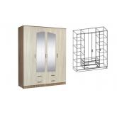 Шкаф  4-х створчатый комбинированный с зеркалами Светлана (Ясень шимо)