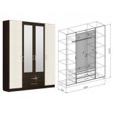 Шкаф 4-дверный Токио (вудлайн)