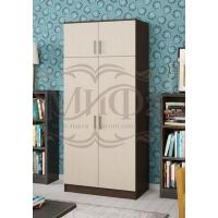 Шкаф 2-х створчатый со штангой и полками (венге/дуб)
