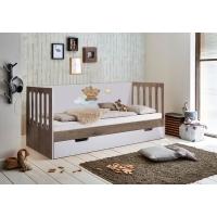 Низкая кровать Мишки Тедди с планкой-ограничителем с заглушками и с ящиком