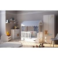 Кровать для детей Домик Сказка + мебель Мишки Тедди
