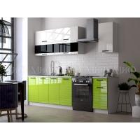 Кухонный гарнитур Техно-3 New 2,0 Белый глянец/Салатовый металлик