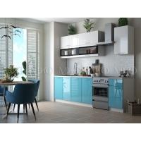 Кухонный гарнитур Техно New 2,0 Белый глянец/бирюза металлик