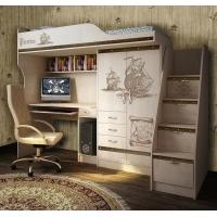 Кровать-чердак с встроенным столом и лестницей Пираты