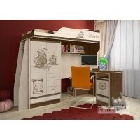 Кровать-чердак со столом Пираты
