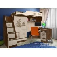 Кровать чердак Пираты c лестницей-комодом и столом