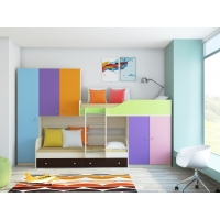 Двухъярусная кровать Лео с разноцветными фасадами
