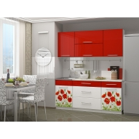 Кухонный гарнитур Маки 1.8 красный (МДФ)