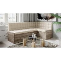 Кухонный диван угловой Форест (Дуб Сонома трюфель/Кожзам бежевый)