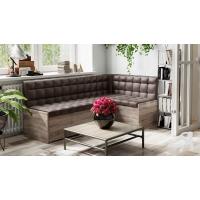 Кухонный диван угловой Форест (Дуб Сонома трюфель/Кожзам коричневый)