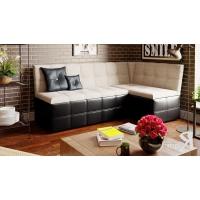 Кухонный диван угловой Домино (Кожзам темный/ткань светлая)