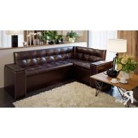 Кухонный диван угловой Остин (Венге Цаво/Кожзам коричневый)