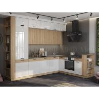 Кухня угловая 3,2*2,24 Техно-5 New (сонома/белый глянец)