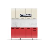 Кухня Рио-2 Бежевый/Красный 1,8 ЛДСП
