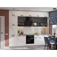Кухонный гарнитур Техно New 3,0 Мрамор белый/Бетон графит