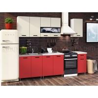 Кухня Рио-2 Бежевый/Красный 2,0 ЛДСП