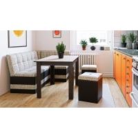 Кухонный диван угловой Оскар (Кожзам темный/ткань светлая)