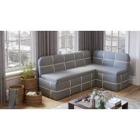 Кухонный диван угловой Майами (Дуб Сонома трюфель/Рогожка Сине-бежевая)