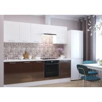 Кухня Люкс 2,4 белый глянец/шоколад глянец