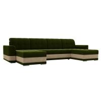 П-образный диван Честер (зеленый/бежевый) микровельвет
