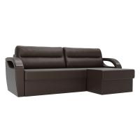 Угловой диван Форсайт коричневый экокожа