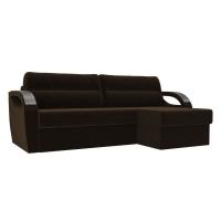 Угловой диван Форсайт коричневый велюр