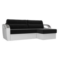 Угловой диван Форсайт (черный/белый) микровельвет экокожа