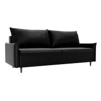 Прямой диван Хьюстон черный экокожа