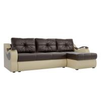 Угловой диван Меркурий (коричневый\бежевый) экокожа