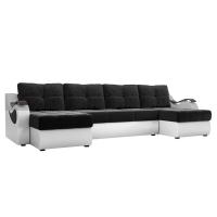 П-образный диван Меркурий (черный\белый) микровельвет экокожа