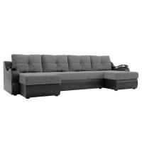 П-образный диван Меркурий (серый\черный) рогожка экокожа