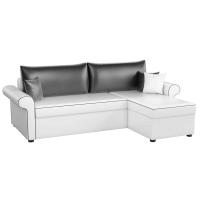 Угловой диван Милфорд (эко кожа бело-черный)