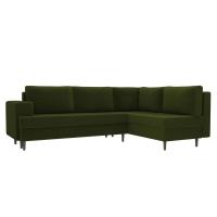 Угловой диван Сильвана зеленый микровельвет