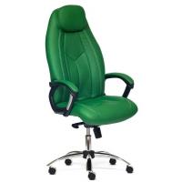 Кресло BOSS люкс (хром) кож/зам, зеленый перфорированный