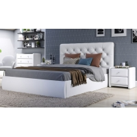 Мягкая кровать Беатриче 1400 ПМ Teos white со стразами