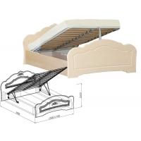Кровать №1 1400 с подъемным механизмом Корона (жемчуг глянец)