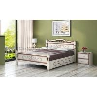 Кровать Карина-5 с ящиками (дуб молочный) 160 см