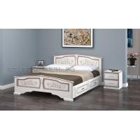Кровать Елена (дуб молочный) 160 см с ящиками