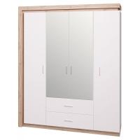 Шкаф для одежды с ящиками 4-х дверный с зеркалом Люмен №16