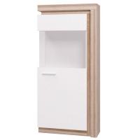 Шкаф-витрина №1 Люмен (белый снег)