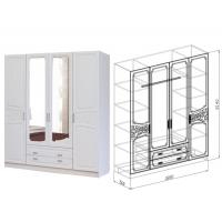 Шкаф 4-дверный Тиффани (рельеф пастель)