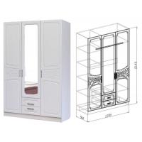 Шкаф 3-дверный Тиффани (рельеф пастель)