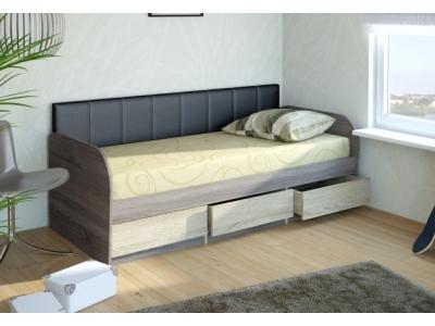 Кровать 12 Серия 4.11 (ель/ель темная) + спинка СМ № 7 (черная classic)